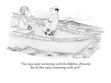 """You may enjoy swimming with the dolphins, Howard, but do they enjoy swimm…"" - New Yorker Cartoon Premium Giclee Print by Victoria Roberts"