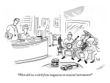 """When did we switch from magazines to musical instruments?"" - New Yorker Cartoon Premium Giclee Print by Bob Eckstein"