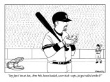 """""""hey fans! im at bat,. btm 9th, bases loaded, score tied--oops, jst got ca…"""" - New Yorker Cartoon Premium Giclee Print by Alex Gregory"""