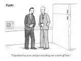 """I liquidated my assets and put everything into scratch-off lotto."" - New Yorker Cartoon Premium Giclee Print by Sam Means"
