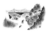 Lemming avoids death by hang-gliding away from cliff. - New Yorker Cartoon Premium Giclee Print by John Kane