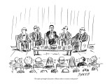 """The subject of tonight's discussion is: why are there no women on this pa…"" - New Yorker Cartoon Premium Giclee Print by David Sipress"