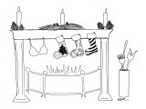 Fireplace set for Christmas with two stockings and a bra hung from the mantle. - New Yorker Cartoon Premium Giclee Print by Emily S. Hopkins