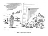 """Who tipped off the turkey?"" - New Yorker Cartoon Premium Giclee Print by Mick Stevens"