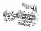 Military officer feeding pigeons that are lined up like soldiers. - New Yorker Cartoon Premium Giclee Print by Tom Cheney