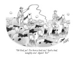 """Oh God, yes!  I've been a bad cow!  Such a bad, naughty cow!  Again!  Yes!"" - New Yorker Cartoon Premium Giclee Print by Glen Le Lievre"