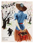 Vogue Cover - April 1938 - Into the Woods Regular Giclee Print by René Bouét-Willaumez