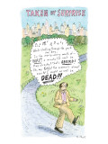 """Taken By Surprise."" While strolling through the park, a man realizes it i…"" - New Yorker Cartoon Premium Giclee Print by Roz Chast"