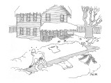 Sweating man wearing only boxer shorts, shoveling snow from his front walk. - New Yorker Cartoon Premium Giclee Print by Jack Ziegler