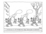 """""""A Performance By The Synchronized Snow Shovellers Of Scarsdale"""" - New Yorker Cartoon Premium Giclee Print by Jack Ziegler"""