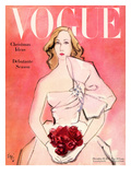 "Vogue Cover - December 1945 - Everthing's Coming Up Roses Premium Giclee Print by Carl ""Eric"" Erickson"