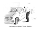 """To be frank, officer, my parents never set boundaries."" - New Yorker Cartoon Premium Giclee Print by Julia Suits"