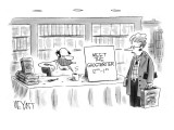 Disheveled man in undershirt sitting in bookstore with sign that reads 'Me… - New Yorker Cartoon Premium Giclee Print by Christopher Weyant