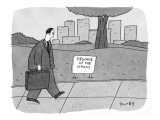 Man walks by a sign in park that reads: 'Beware of the Grass.' - New Yorker Cartoon Premium Giclee Print by Peter C. Vey