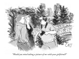 """Would you mind taking a picture of me with your girlfriend?"" - New Yorker Cartoon Premium Giclee Print by Carolita Johnson"