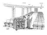Movie theater worker cleans popcorn off of floor and places it back in pop… - New Yorker Cartoon Premium Giclee Print by Tom Cheney