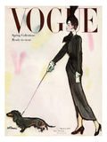 Vogue Cover - March 1947 - Dachshund Stroll Regular Giclee Print by René R. Bouché