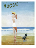 Vogue Cover - July 1937 - Beach Walk Premium Giclee Print by Eduardo Garcia Benito