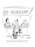 """Any chance of an upgrade to a flight that's on time?"" - New Yorker Cartoon Premium Giclee Print by David Sipress"