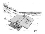 Person on a beach blanket covered by a giant book called, 'Sunblock a Novel.' - New Yorker Cartoon Premium Giclee Print by Christopher Weyant