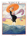 Vogue Cover - July 1919 - Seaside Stroll Premium Giclee Print by Helen Dryden