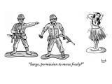 """""""Sarge, permission to move freely?"""" - New Yorker Cartoon Premium Giclee Print by Bob Eckstein"""