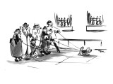 Six dog walkers with leashes walking one dog. - New Yorker Cartoon Premium Giclee Print by Lee Lorenz