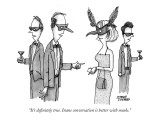 """""""It's definitely true. Inane conversation is better with masks."""" - New Yorker Cartoon Premium Giclee Print by Steve Duenes"""
