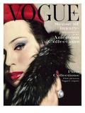 Vogue Cover - September 1959 - Fur Collar Regular Giclee Print by Karen Radkai