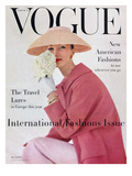 Vogue Cover - March 1956 - Pretty in Pink Regular Giclee Print by Karen Radkai