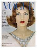 Vogue Cover - November 1957 - Blue Jewels Regular Giclee Print by  Leombruno-Bodi
