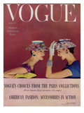 Vogue Cover - March 1954 - Floral Hats Regular Giclee Print by Richard Rutledge