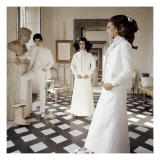 Vogue - March 1968 - Valentino Long White Evening Suits Regular Photographic Print by Henry Clarke