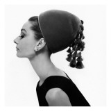 Vogue - August 1964 - Audrey Hepburn in Velvet Hat Premium Photographic Print by Cecil Beaton