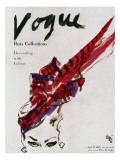"Vogue Cover - April 1946 - Feathered Hat Premium Giclee Print by Carl ""Eric"" Erickson"