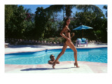 Vogue - April 1999 - Poolside Strut Premium Photographic Print by Arthur Elgort