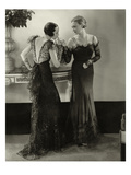 Vogue - January 1934 - Elaborate Evening Gowns Premium Photographic Print by Edward Steichen