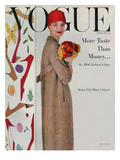 Vogue Cover - February 1956 - Flowers and Fashion Regular Giclee Print by Karen Radkai