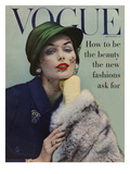 Vogue Cover - September 1956 - Lace and Fur Regular Giclee Print by Karen Radkai