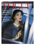 Vogue Cover - March 1957 - Stylish Ride Regular Giclee Print by Clifford Coffin