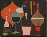Eat & Drink Reproducción en lienzo de la lámina por Jenn Ski