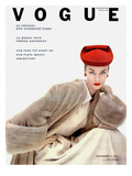 Vogue Cover - November 1951 - Red Hat, Fur Coat Regular Giclee Print by Clifford Coffin