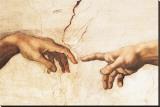 La création d'Adam Reproduction transférée sur toile par  Michelangelo Buonarroti