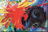 Lutte abstraite Reproduction transférée sur toile par Franz Marc