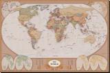 Carte du monde Reproduction transférée sur toile