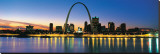 St. Louis Arch and Skyline at Night Stretched Canvas Print