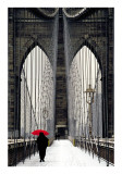 Brooklyn Bridge Meets Red Posters af Michael Cahill