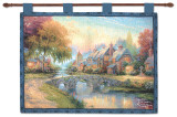 Cobblestone Bridge Wall Tapestry by Thomas Kinkade