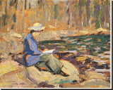 My Wife, Sackville River Stretched Canvas Print by Arthur Lismer