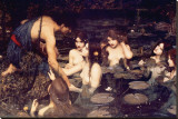 Hylas and Nymphs Stretched Canvas Print by John William Waterhouse